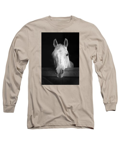Long Sleeve T-Shirt featuring the photograph White Horse by Marion Johnson