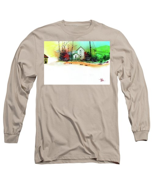 Long Sleeve T-Shirt featuring the painting White Houses by Anil Nene