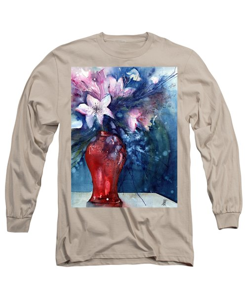 Flowers - White Lilies In Red Vase Long Sleeve T-Shirt