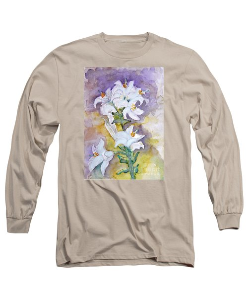 White Lilies Long Sleeve T-Shirt by Jasna Dragun