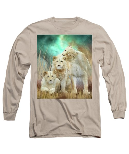 Long Sleeve T-Shirt featuring the mixed media White Lion Family - Mothering by Carol Cavalaris