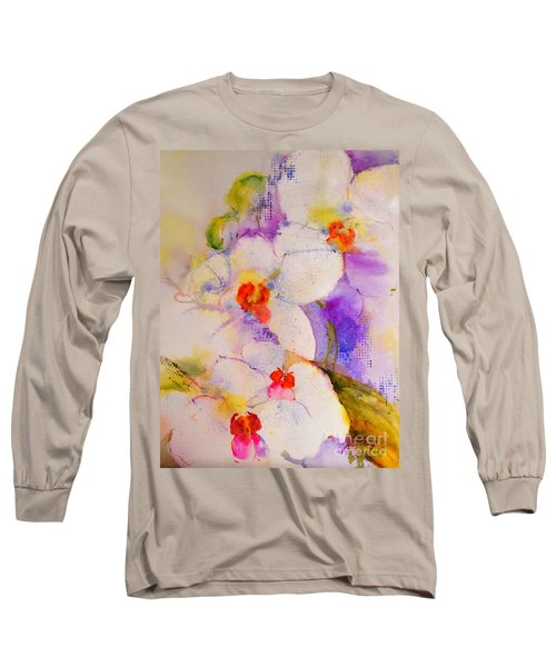 White Orchids Long Sleeve T-Shirt by Betty M M Wong