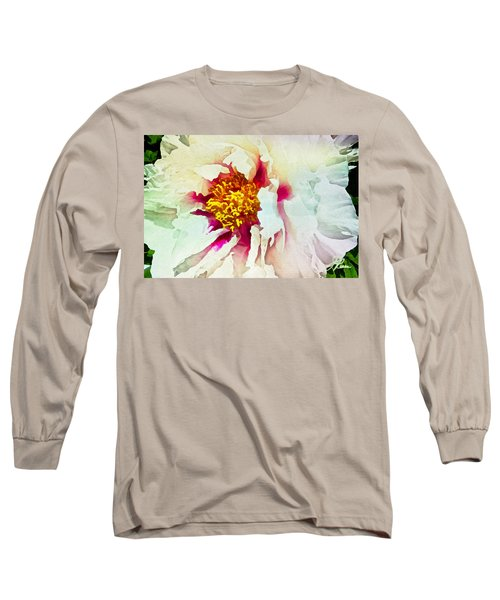 White Peony Long Sleeve T-Shirt by Joan Reese