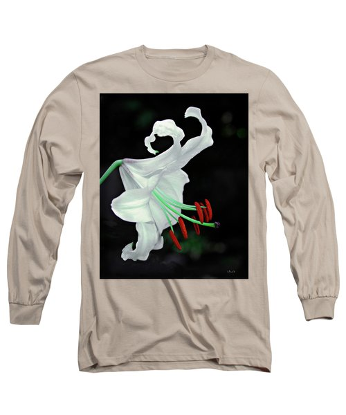White, Red And Green Lily Long Sleeve T-Shirt