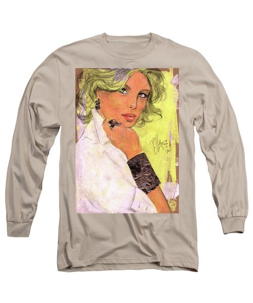 White Silver Long Sleeve T-Shirt by P J Lewis