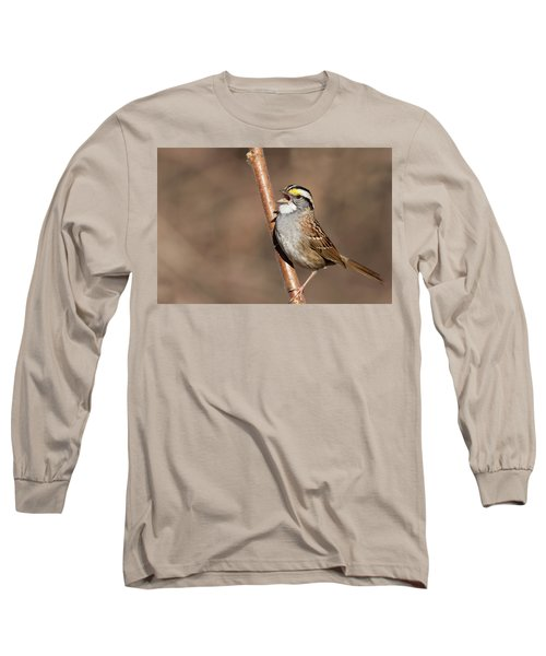 Long Sleeve T-Shirt featuring the photograph White-throated Sparrow by Mircea Costina Photography