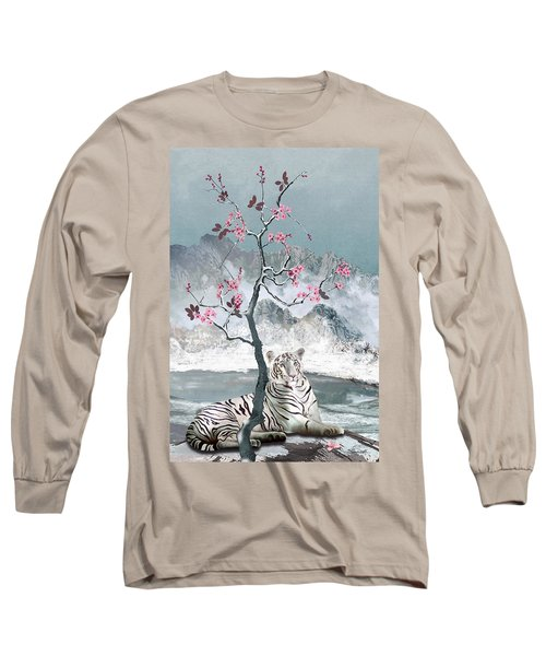 White Tiger And Plum Tree Long Sleeve T-Shirt