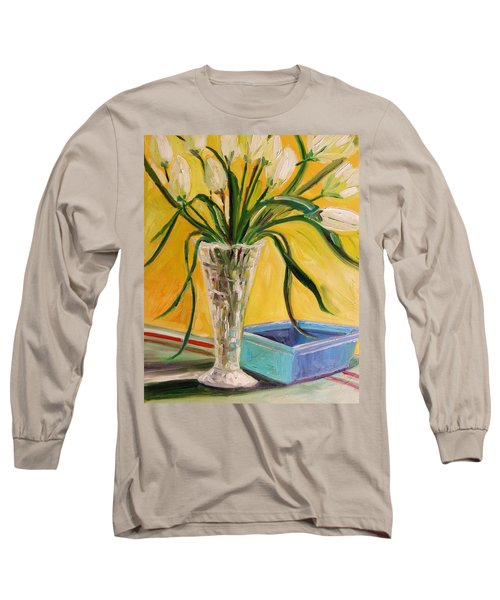White Tulips In Cut Glass Long Sleeve T-Shirt