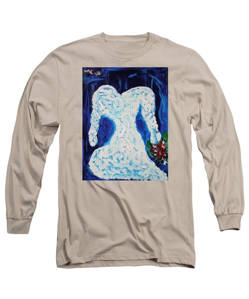 White Wedding Dress On Blue Long Sleeve T-Shirt by Mary Carol Williams