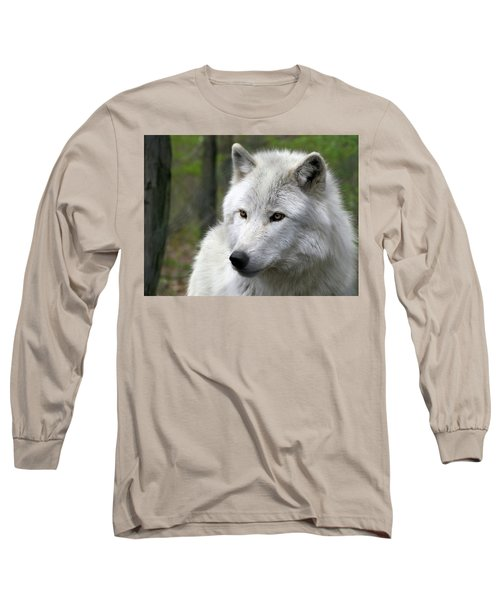 White Wolf With Golden Eyes Long Sleeve T-Shirt