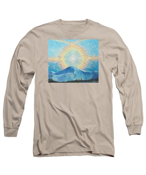 Long Sleeve T-Shirt featuring the painting Who Makes The Clouds His Chariot Fire Rainbow Over Alberta Peak by Anastasia Savage Ealy