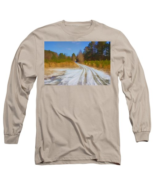 Snow Covered Lane Long Sleeve T-Shirt