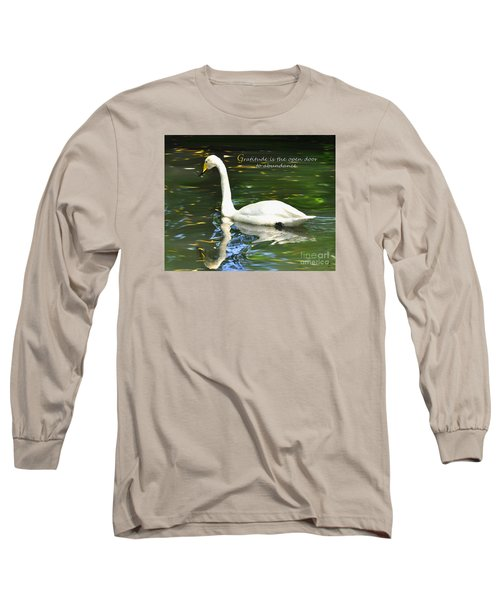 Long Sleeve T-Shirt featuring the painting Whooper Swan Gratitude by Diane E Berry