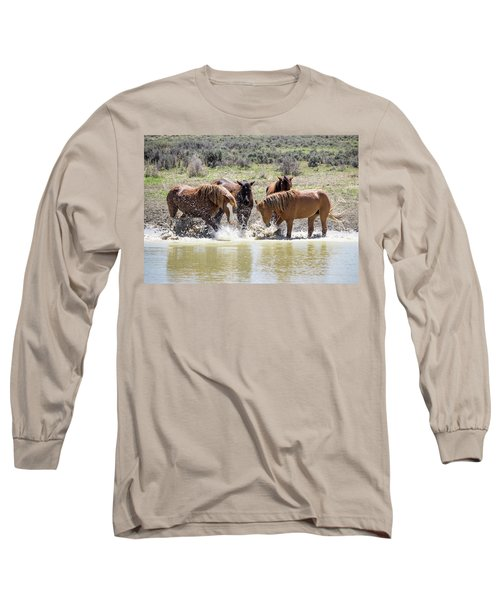 Wild Mustang Stallions Playing In The Water - Sand Wash Basin Long Sleeve T-Shirt