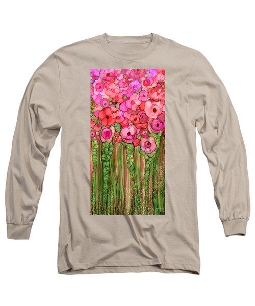 Long Sleeve T-Shirt featuring the mixed media Wild Poppy Garden - Pink by Carol Cavalaris