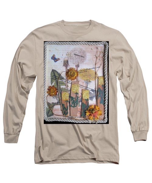 Long Sleeve T-Shirt featuring the mixed media Wildflower Honey by Sandy McIntire