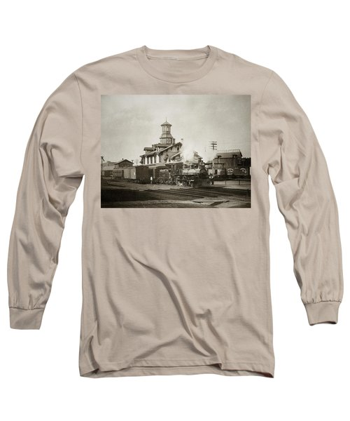 Wilkes Barre Pa. New Jersey Central Train Station Early 1900's Long Sleeve T-Shirt