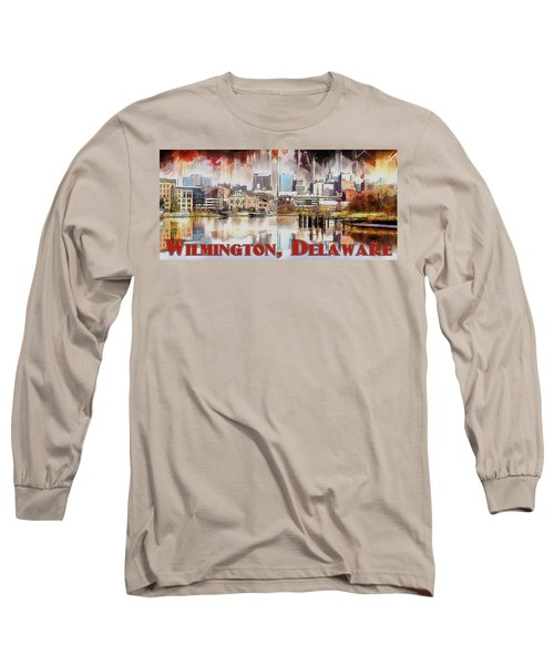 Long Sleeve T-Shirt featuring the painting Wilmington City Lights by Kai Saarto