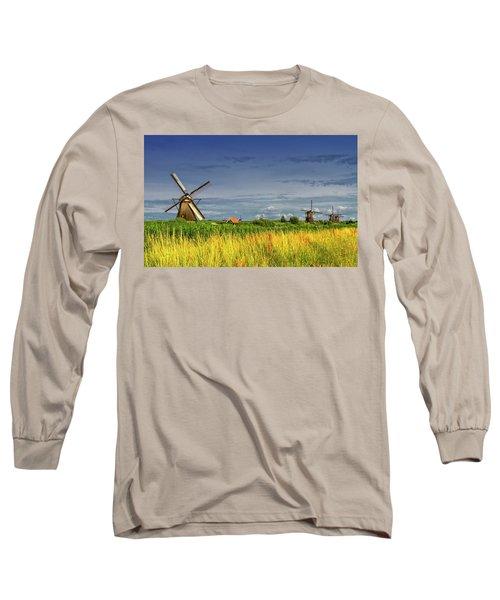 Windmills In Kinderdijk, Holland, Netherlands Long Sleeve T-Shirt by Elenarts - Elena Duvernay photo