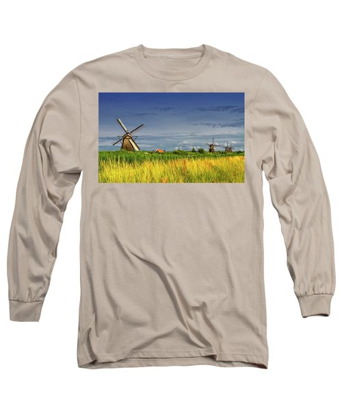 Windmills In Kinderdijk, Holland, Netherlands Long Sleeve T-Shirt