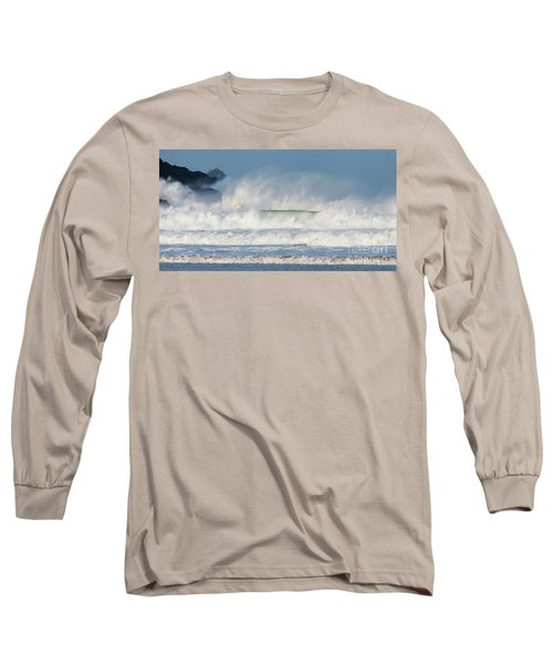Long Sleeve T-Shirt featuring the photograph Windy Seas In Cornwall by Nicholas Burningham