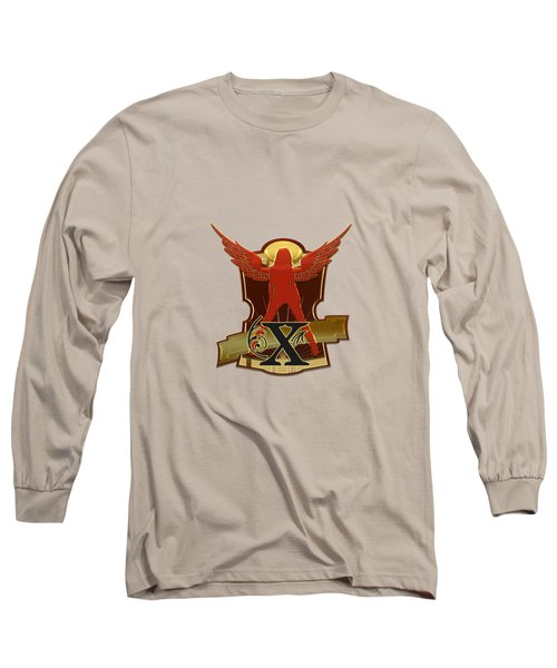Winged Woman Initial X Long Sleeve T-Shirt