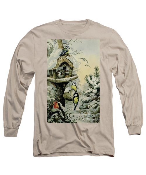 Winter Bird Table With Blue Tits Long Sleeve T-Shirt