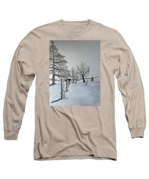 Long Sleeve T-Shirt featuring the painting Winter Blues by Jack G  Brauer