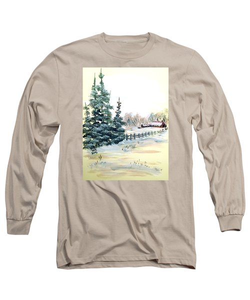 Long Sleeve T-Shirt featuring the painting Winter Comes At The Farm  by Dorothy Maier