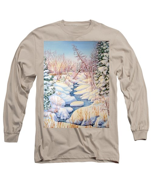 Long Sleeve T-Shirt featuring the painting Winter Creek 1  by Inese Poga
