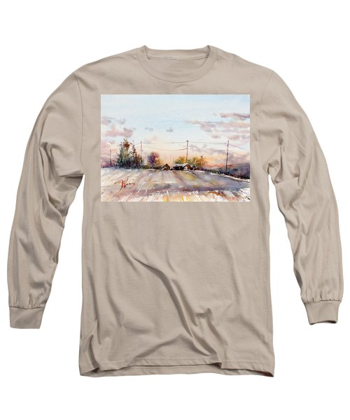 Winter Sunrise On The Lane Long Sleeve T-Shirt by Judith Levins