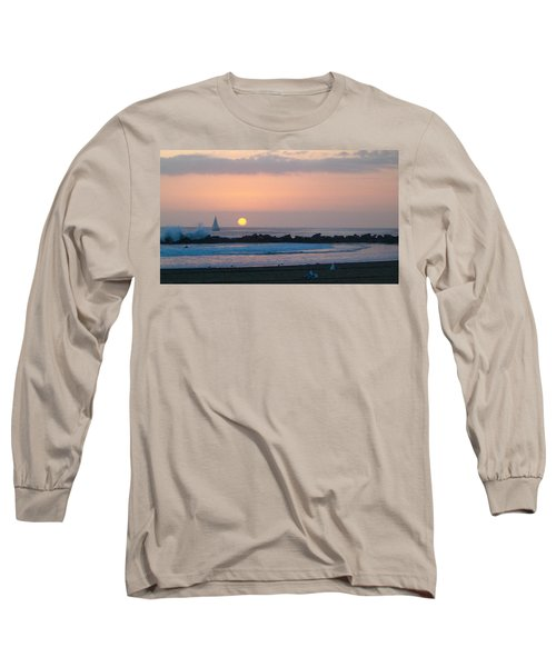Winter Sunset, Venice Breakwater Long Sleeve T-Shirt