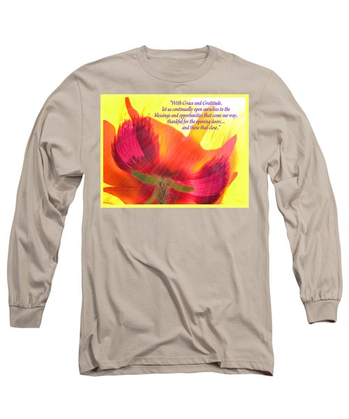 With Grace And Gratitude - Poppy From The Garden With Text Long Sleeve T-Shirt