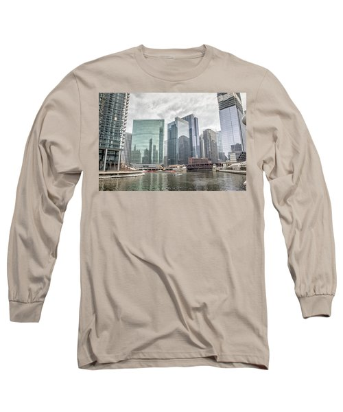 Wolf Point Where The Chicago River Splits Long Sleeve T-Shirt by Peter Ciro