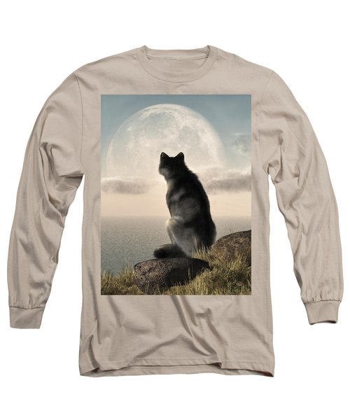 Wolf Watching The Moonrise Long Sleeve T-Shirt