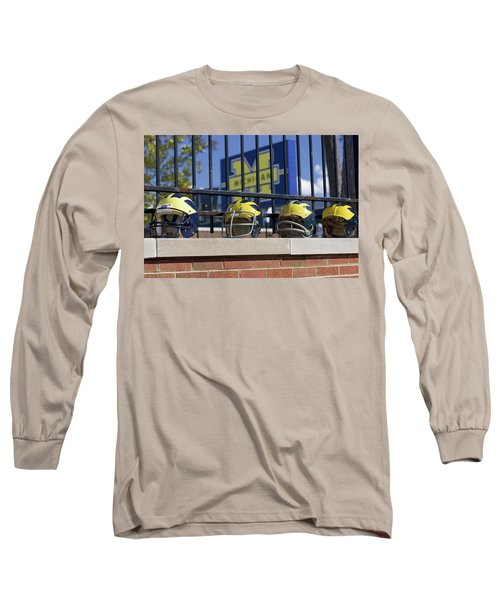 Wolverine Helmets Of Different Eras On Stadium Wall Long Sleeve T-Shirt