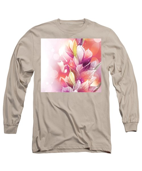 Woman And Flowers Long Sleeve T-Shirt by Annie Zeno
