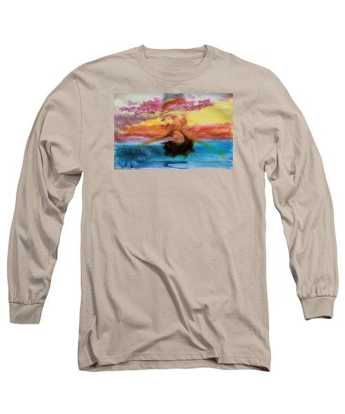 Woman Engulfed Long Sleeve T-Shirt by Bob Pardue