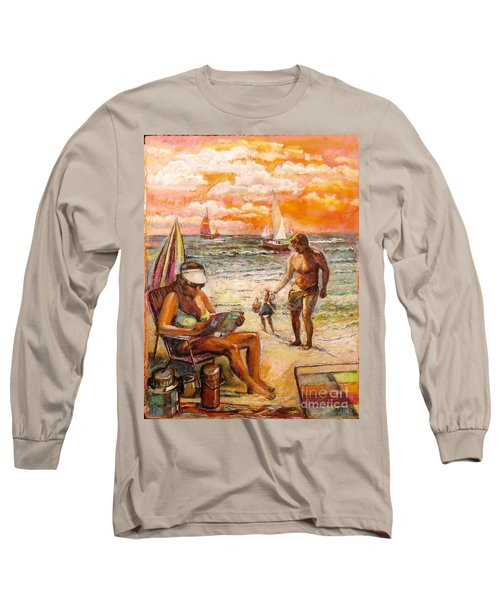 Woman Reading On The Beach Long Sleeve T-Shirt