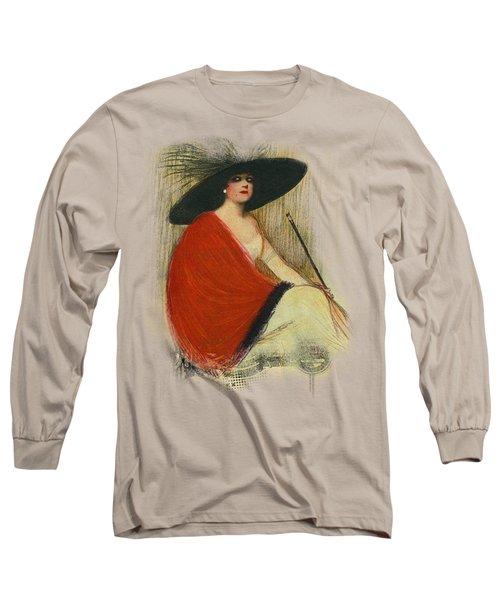 Woman Wearing Hat Long Sleeve T-Shirt