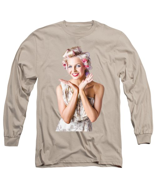Woman With Rollers In Hair Long Sleeve T-Shirt