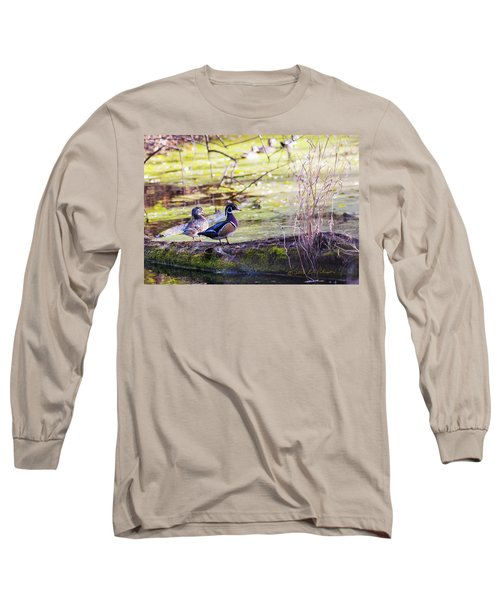 Wood Duck Couple Long Sleeve T-Shirt by Edward Peterson