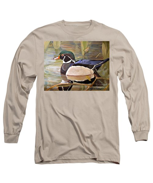 Wood Duck On Pond Long Sleeve T-Shirt