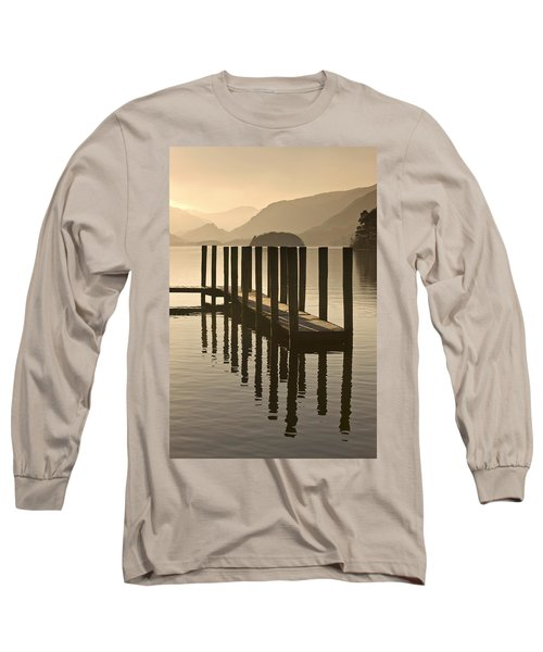 Wooden Dock In The Lake At Sunset Long Sleeve T-Shirt