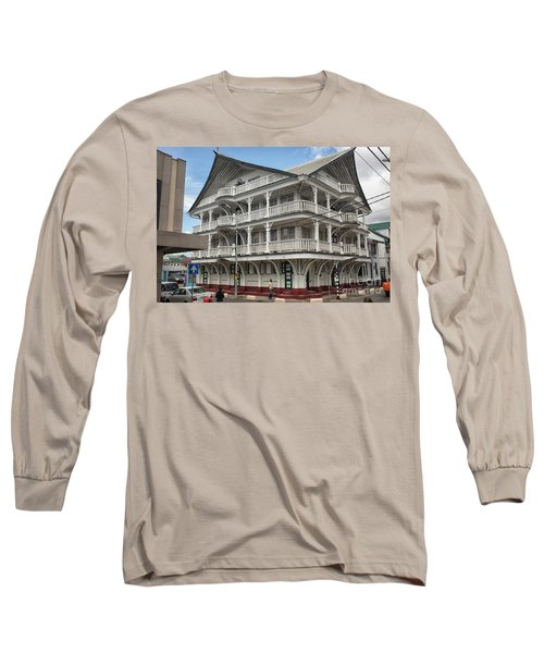 Wooden House In Colonial Style In Downtown Suriname Long Sleeve T-Shirt by Patricia Hofmeester