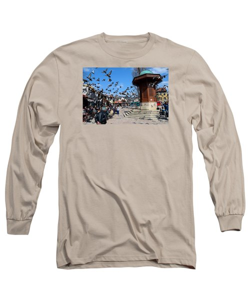 Wooden Ottoman Sebilj Water Fountain In Sarajevo Bascarsija Bosnia Long Sleeve T-Shirt by Imran Ahmed