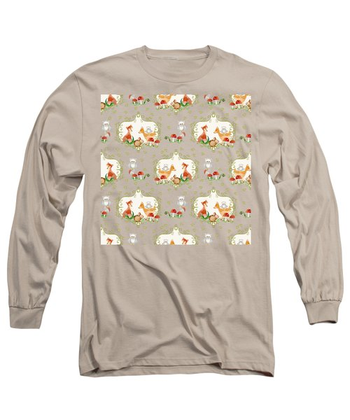 Woodland Fairy Tale - Mint Green Sweet Animals Fox Deer Rabbit Owl - Half Drop Repeat Long Sleeve T-Shirt