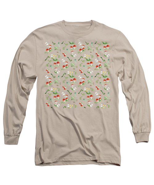 Long Sleeve T-Shirt featuring the painting Woodland Fairy Tale - Red Mushrooms N Owls by Audrey Jeanne Roberts