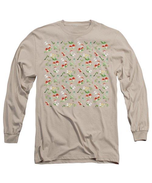 Woodland Fairy Tale - Red Mushrooms N Owls Long Sleeve T-Shirt