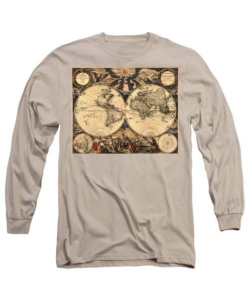 World Map 1666 Long Sleeve T-Shirt by Andrew Fare